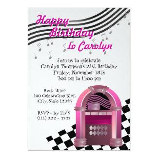 Cumpleaños de la máquina tocadiscos de la roca invitación 12,7 x 17,8 cm