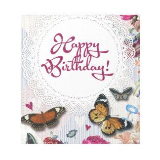 Cumpleaños de la mariposa libreta para notas