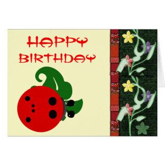 Cumpleaños de la mariquita tarjeta de felicitación