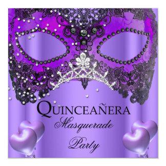 """Cumpleaños de la máscara de la púrpura de invitación 5.25"""" x 5.25"""""""