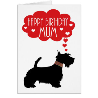 Cumpleaños de la momia con el escocés Terrier de Tarjeta De Felicitación