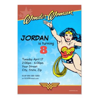 """Cumpleaños de la Mujer Maravilla Invitación 5"""" X 7"""""""