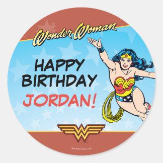 Cumpleaños de la Mujer Maravilla Pegatina Redonda