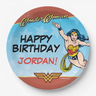 Cumpleaños de la Mujer Maravilla Plato De Papel De 9 Pulgadas