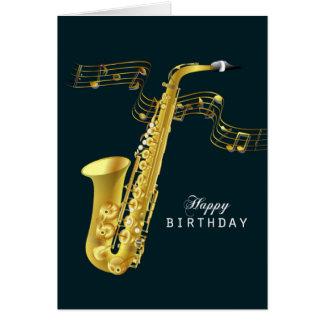 Cumpleaños de la música del saxofón feliz tarjeta de felicitación