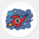 Cumpleaños de la nave de Rocket 4to Pegatina Redonda