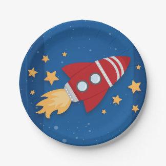 Cumpleaños de la nave de Rocket Plato De Papel De 7 Pulgadas