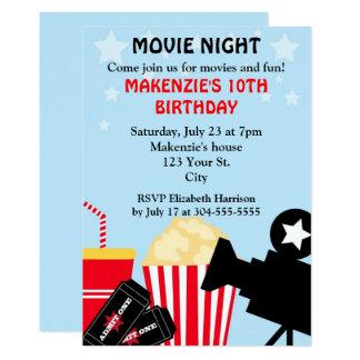 """Cumpleaños de la noche de película invitación 5"""" x 7"""""""