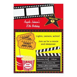 Cumpleaños de la noche del Sleepover y de película Invitación 12,7 X 17,8 Cm