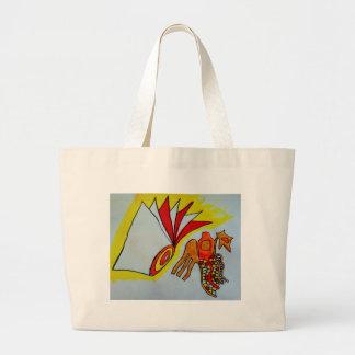 cumpleaños de la original del diseño de la pintura bolsa tela grande