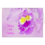 Cumpleaños de la orquídea del rosa en colores felicitación