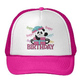 Cumpleaños de la panda gorros bordados