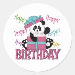 Cumpleaños de la panda pegatina redonda