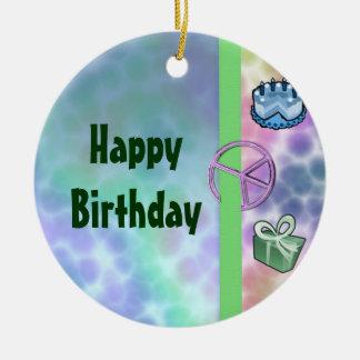 Cumpleaños de la paz del teñido anudado adorno redondo de cerámica