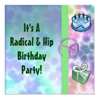 """Cumpleaños de la paz del teñido anudado invitación 5.25"""" x 5.25"""""""