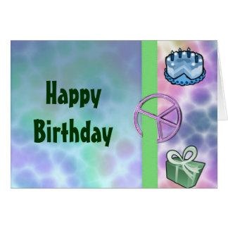 Cumpleaños de la paz del teñido anudado tarjeta de felicitación
