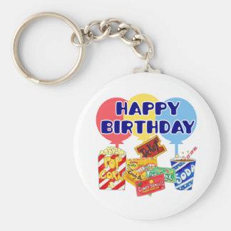 Cumpleaños de la película llavero redondo tipo pin