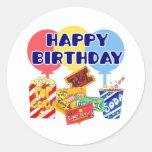 Cumpleaños de la película pegatinas redondas