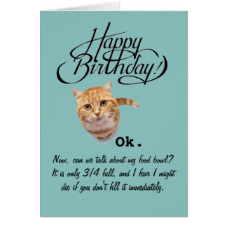 Cumpleaños de la perspectiva de un gato (tarjeta tarjeta de felicitación