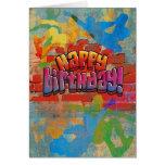 Cumpleaños de la pintada del monopatín tarjeta de felicitación