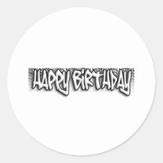 Cumpleaños de la pintada etiquetas redondas
