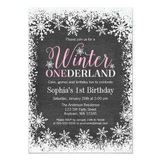"""Cumpleaños de la pizarra de la nieve de ONEderland Invitación 5"""" X 7"""""""