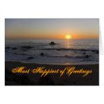Cumpleaños de la playa de la puesta del sol tarjeta de felicitación