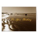 Cumpleaños de la playa de la sepia tarjeta de felicitación