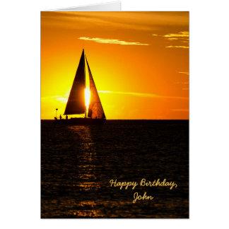 Cumpleaños de la puesta del sol del velero tarjeta de felicitación