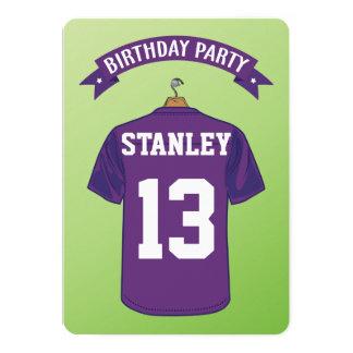 """Cumpleaños de la púrpura del jersey del fútbol invitación 5"""" x 7"""""""