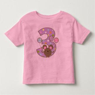 Cumpleaños de la púrpura del ratón del globo 3ro playera
