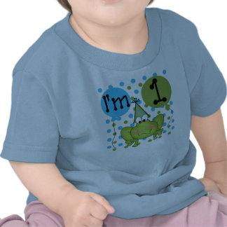 Cumpleaños de la rana de los muchachos primer camiseta