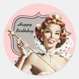 Cumpleaños de la reina de belleza del vintage pegatina redonda