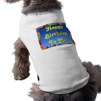Cumpleaños de la ropa del mascota feliz a mí playera sin mangas para perro