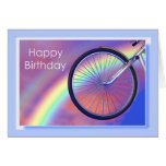 Cumpleaños de la rueda de bicicleta felicitación