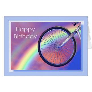 Cumpleaños de la rueda de bicicleta tarjeta de felicitación