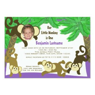 """Cumpleaños de la selva del mono con la foto invitación 5"""" x 7"""""""
