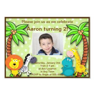 Cumpleaños de la selva del safari o invitación invitación 12,7 x 17,8 cm