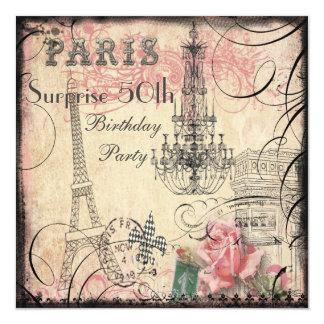 """Cumpleaños de la sorpresa de la torre Eiffel y de Invitación 5.25"""" X 5.25"""""""