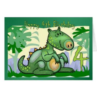 Cumpleaños de la tarjeta del dinosaurio del feliz