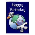 Cumpleaños de la tierra del astronauta y del plane tarjetas