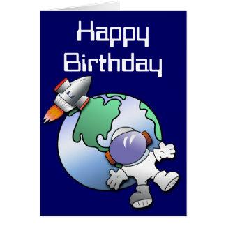 Cumpleaños de la tierra del astronauta y del plane tarjeta de felicitación