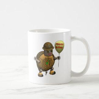 Cumpleaños de la tortuga del robot feliz taza