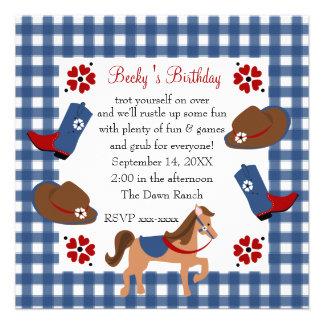 Cumpleaños de la vaquera del dril de algodón comunicados personales