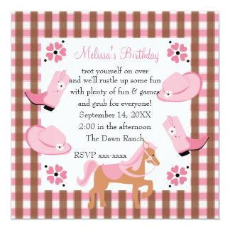 Cumpleaños de la vaquera del dril de algodón invitación 13,3 cm x 13,3cm