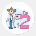 Cumpleaños de la vaquera del palillo 2do pegatinas redondas