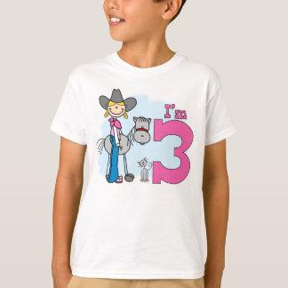 Cumpleaños de la vaquera del palillo 3ro remera
