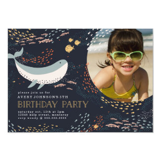 """Cumpleaños de la vida marina invitación 5"""" x 7"""""""