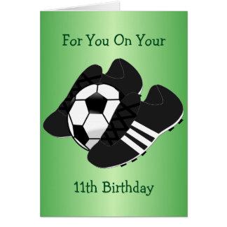 Cumpleaños de las botas del fútbol 11mo tarjeta de felicitación