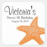 Cumpleaños de las estrellas de mar calcomanías cuadradass personalizadas